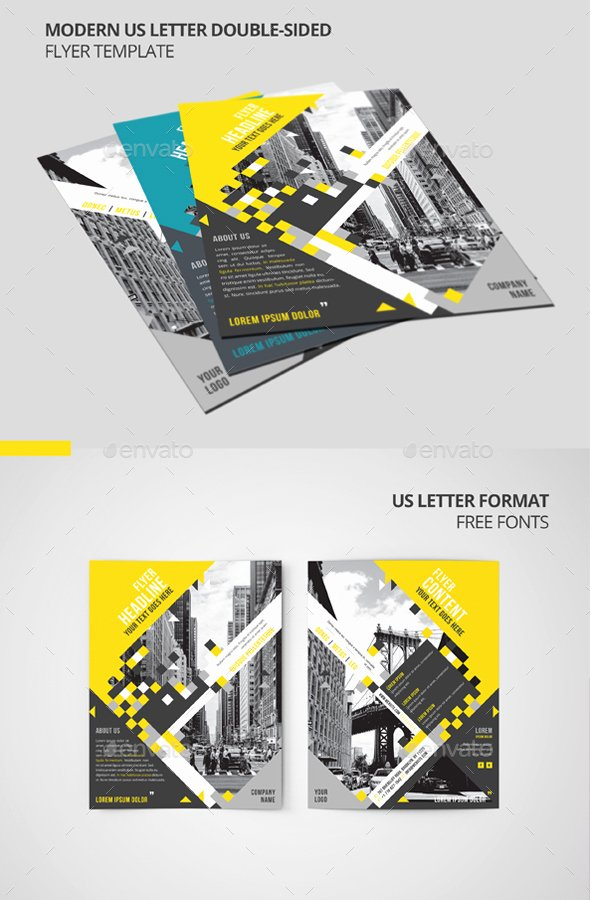 Modern Us Letter Double Sided Flyer Template by