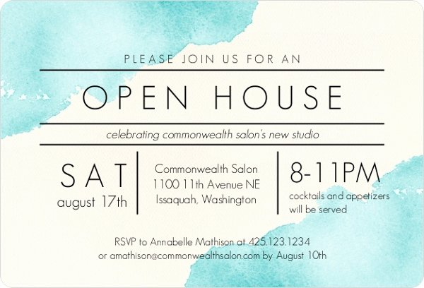 Modern Watercolor Corporate Open House Invitation