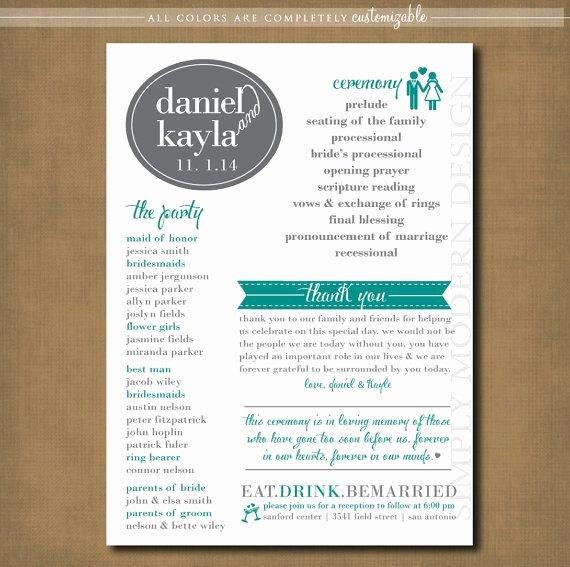 Modern Wedding Program Ceremony Program by