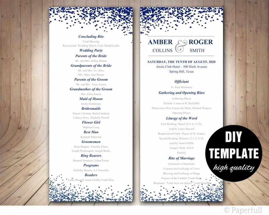 Modern Wedding Program Template Navy Blue Program Template