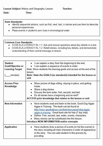 Mon Core History Lessons Free Lesson Plan Template