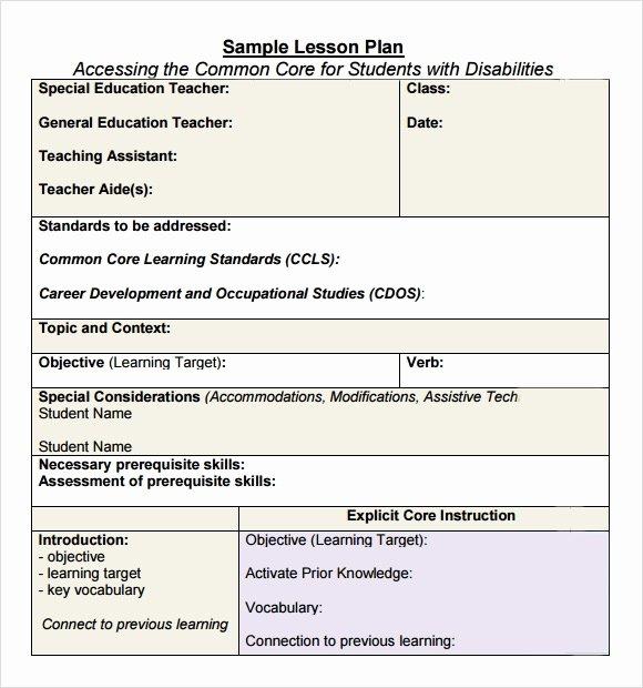 mon core lesson plan template