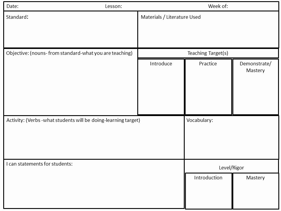 Mon Core Math Lesson Plan Template Cultivating