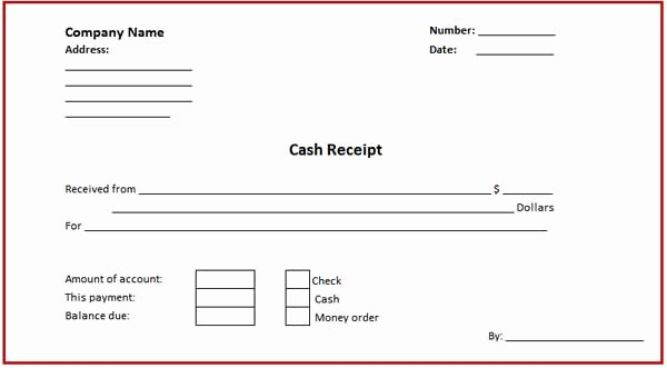 Money Cash Receipt format for Microsoft Word Template