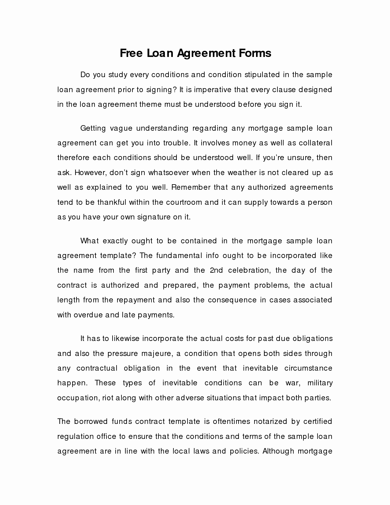 Money Loan Contract Template Free Free Printable Documents