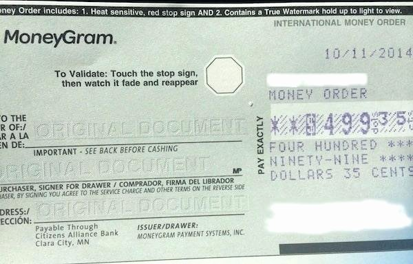 Money order Receipts Western Union Money Transfer Receipt