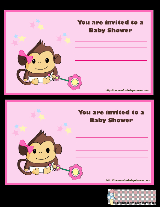Monkey Girl Baby Shower Invitations Template