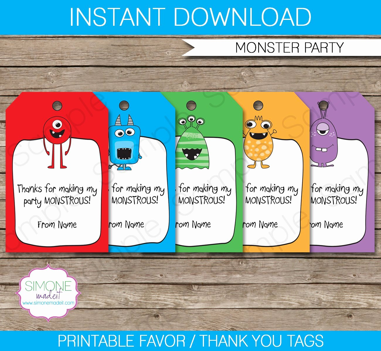 Monster Favor Tags Thank You Tags Birthday Party Favors