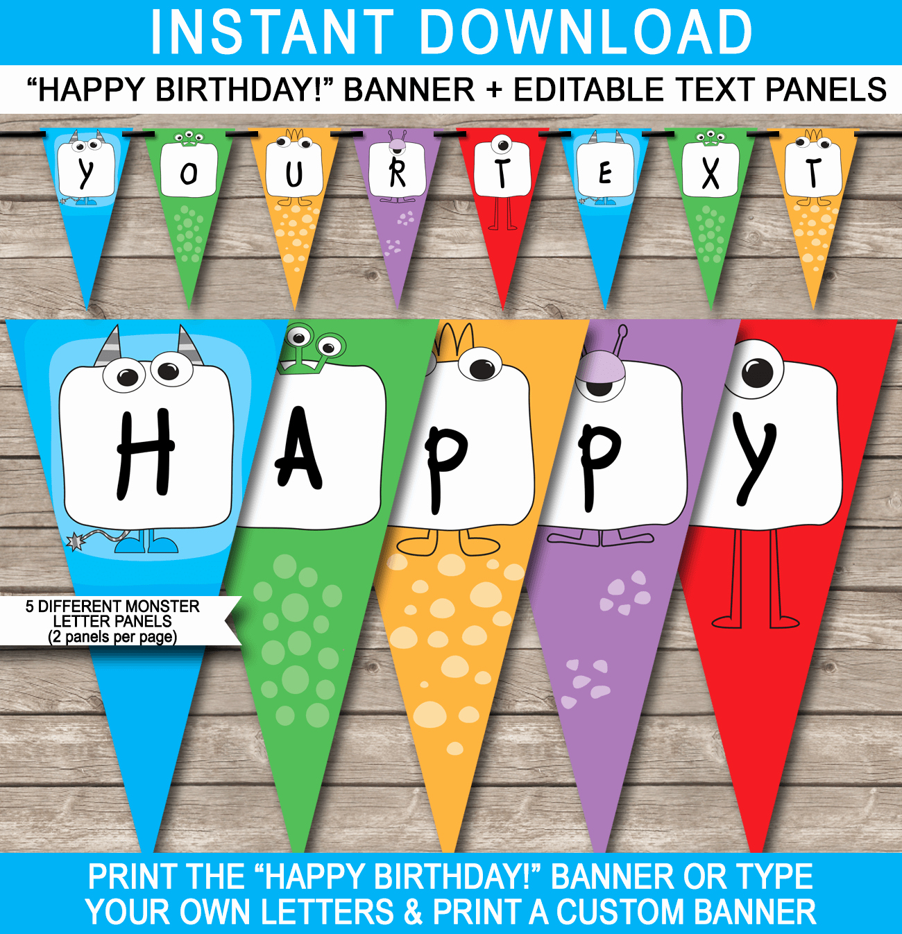 Monster Party Banner Template Birthday Banner