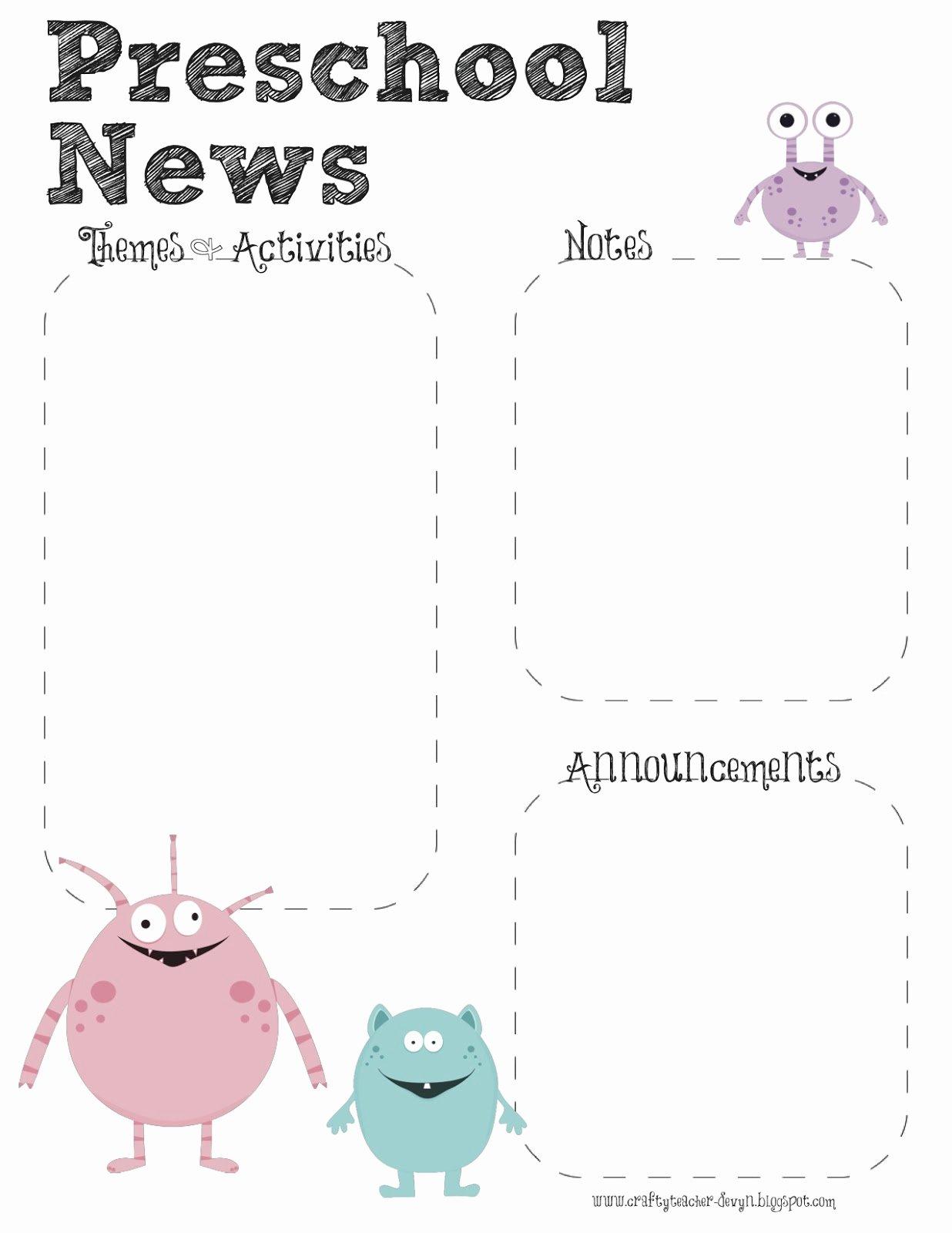 Monster theme Preschool Newsletter Template