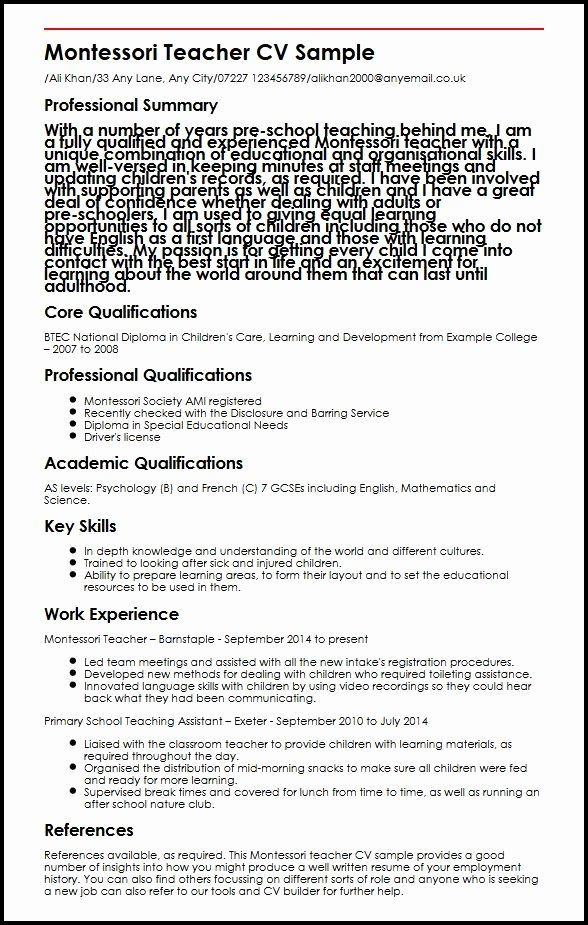Montessori Teacher Cv Sample