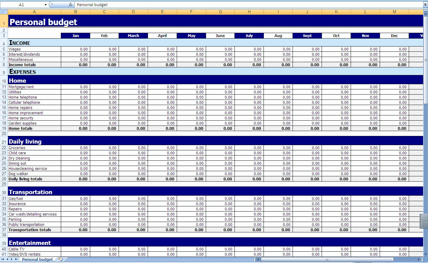 Monthly and Yearly Bud Spreadsheet Excel Template