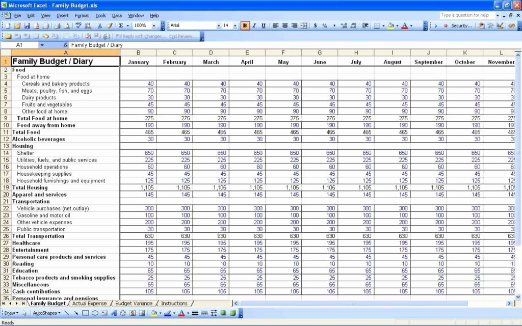 Monthly Bud Excel Spreadsheet Template Free Monthly