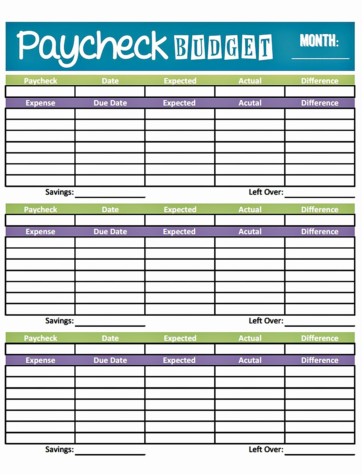 Monthly Bud form Fillable Free Monthly Bud