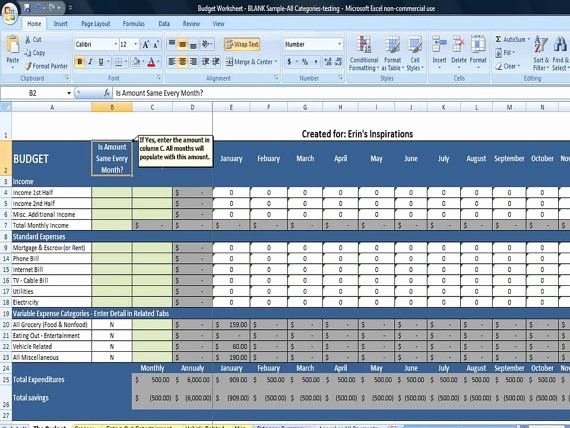 Monthly Bud Spreadsheet Home Finance Management Excel