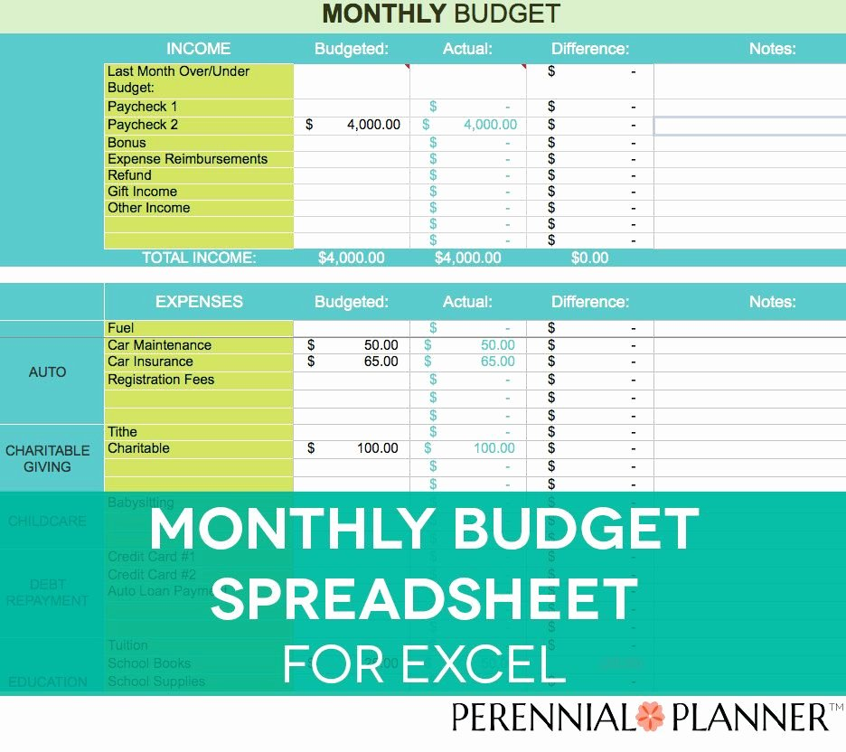 Monthly Bud Spreadsheet Household Money Tracker
