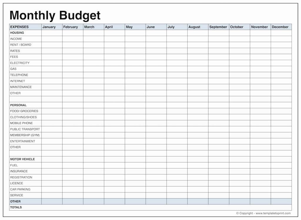 Monthly Bud Worksheet Dc Design