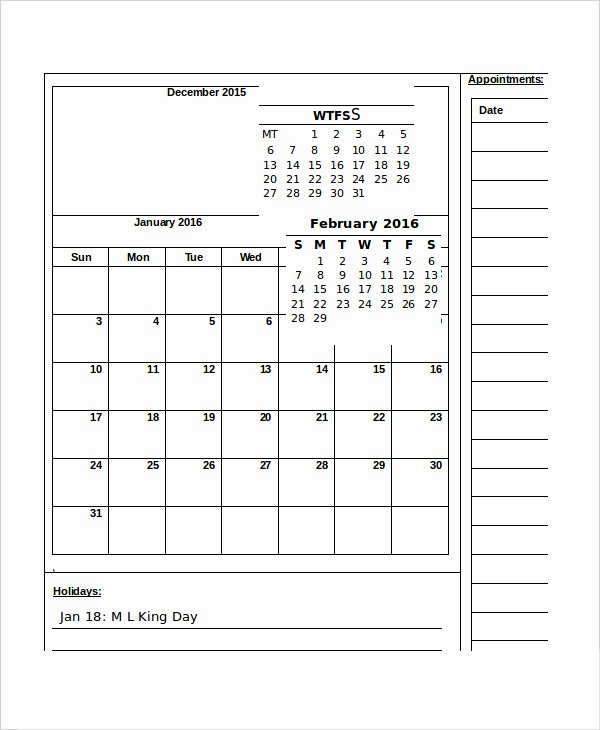Monthly Calendar 13 Free Word Pdf Documents Download