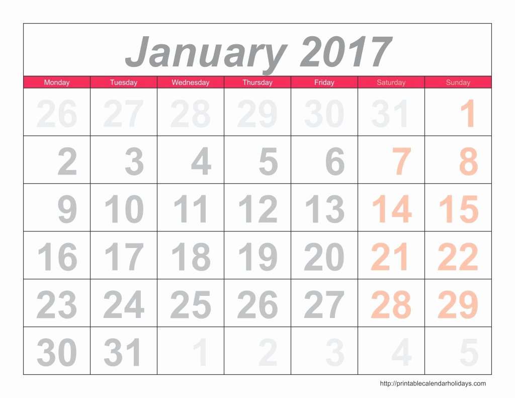 Monthly Calendar 2017 Archives Free Printable Calendar