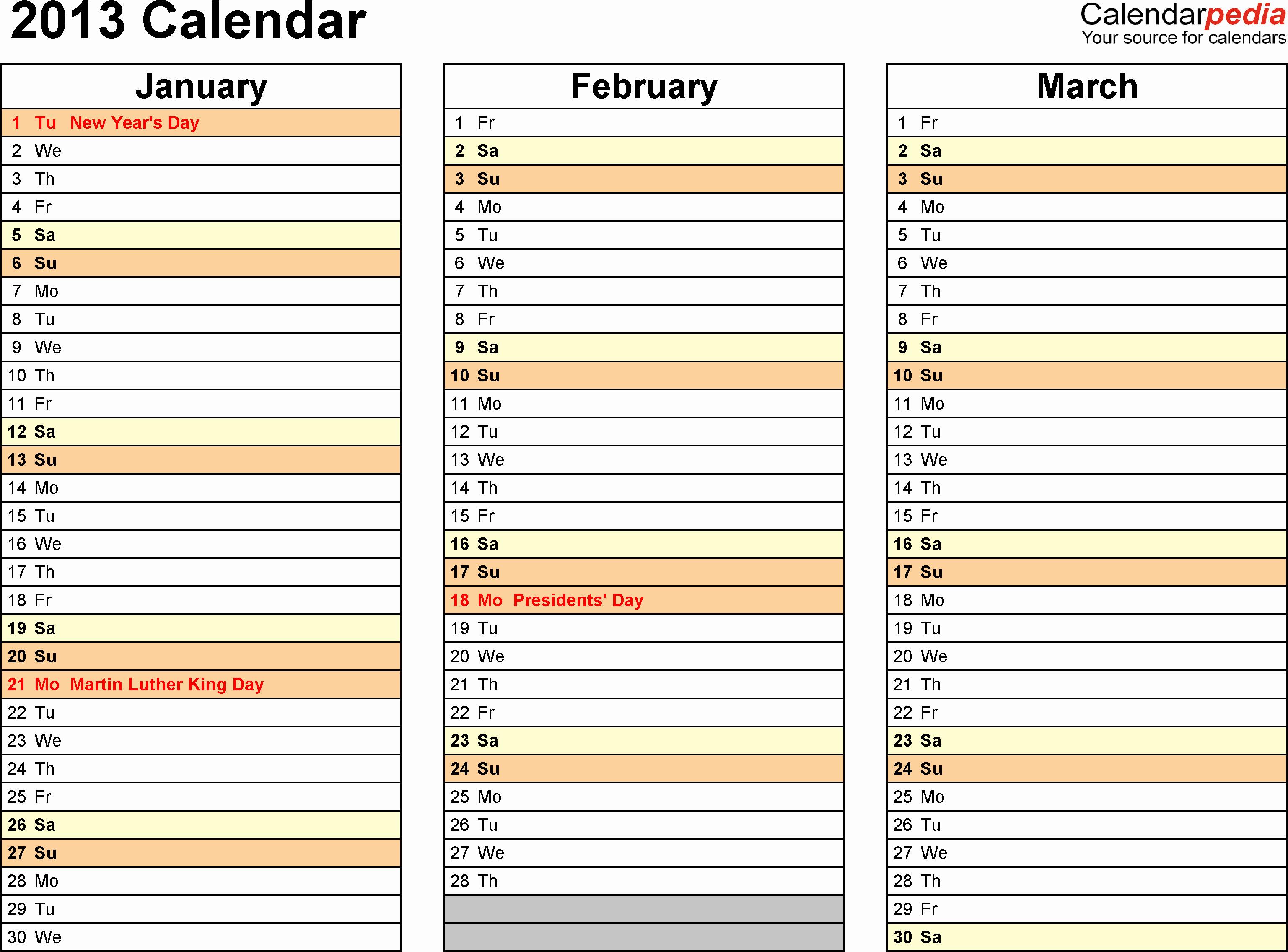 Monthly Calendar Template 2013