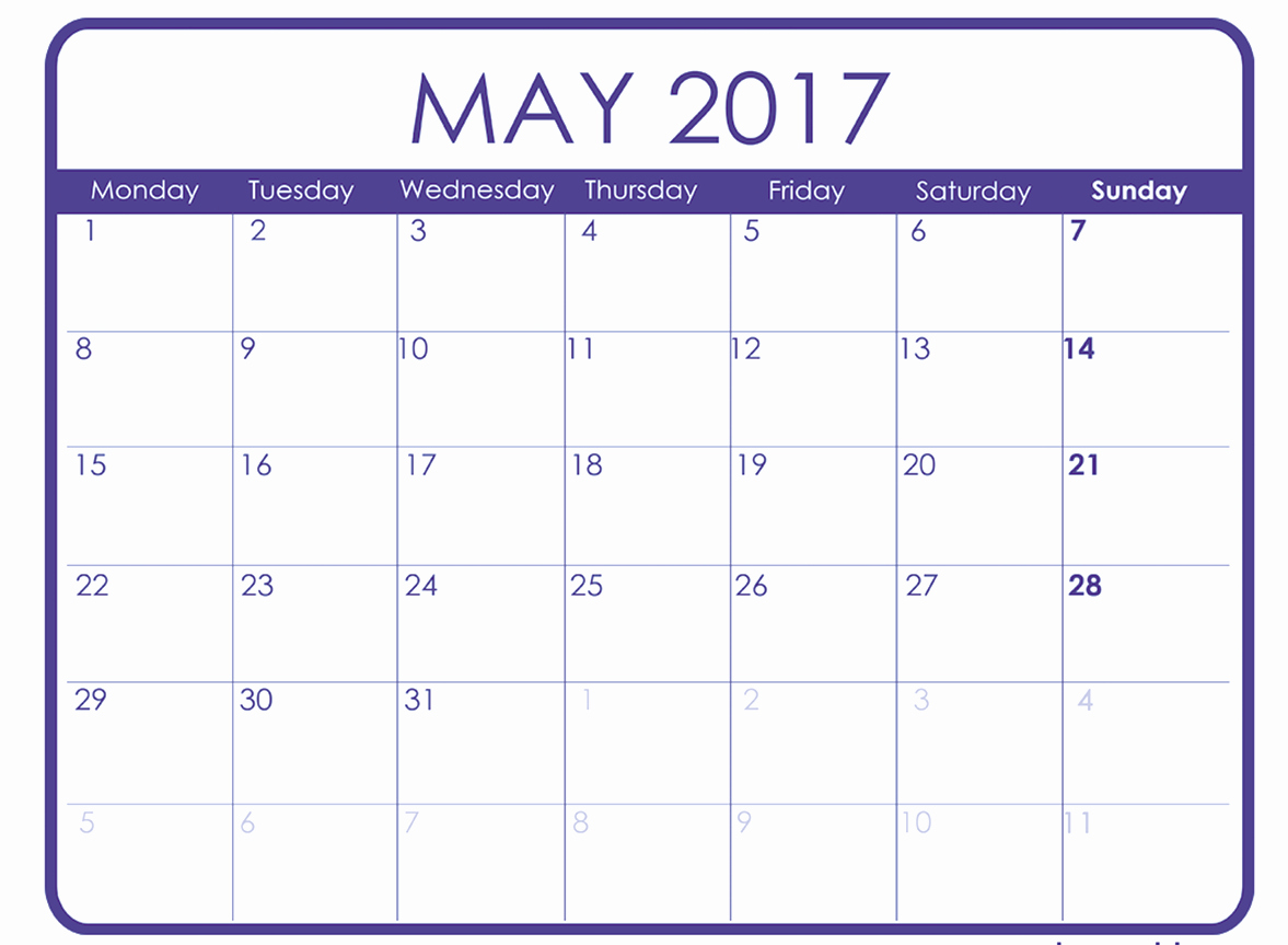 Monthly Calendar Template 2017 Word