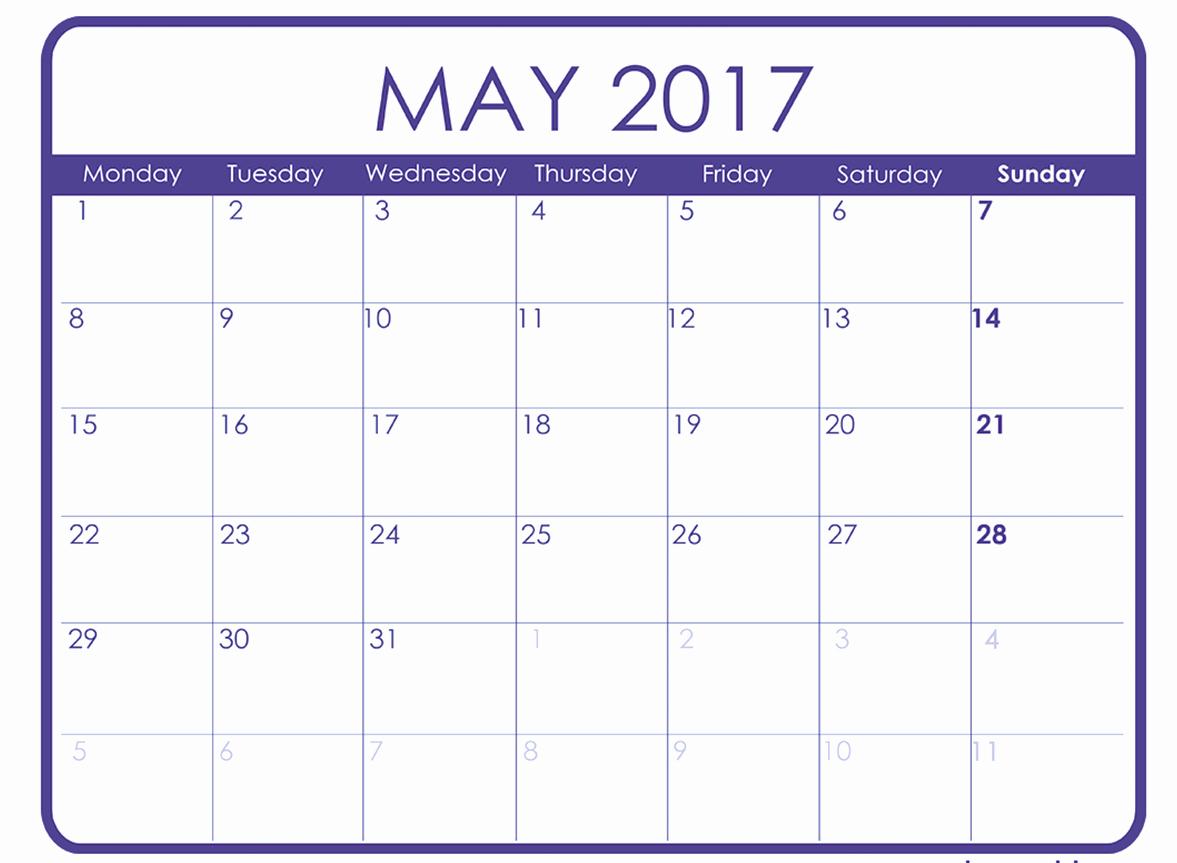 Monthly Calendar Template 2017 Word