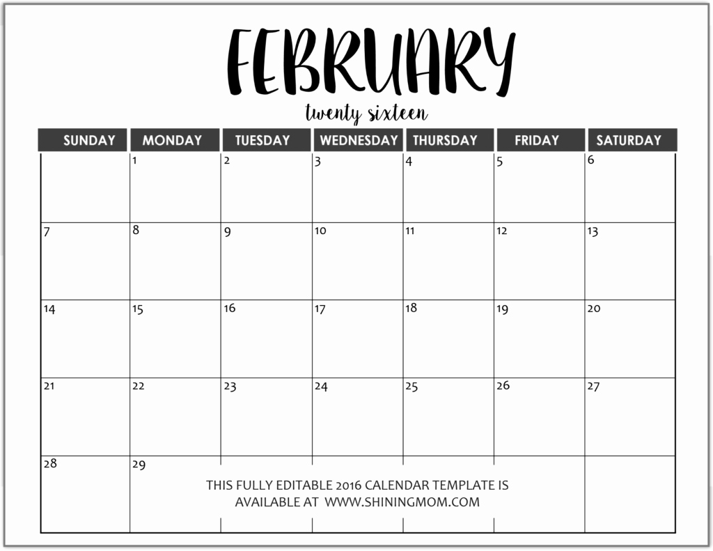 Monthly Calendar Templates Free Editable