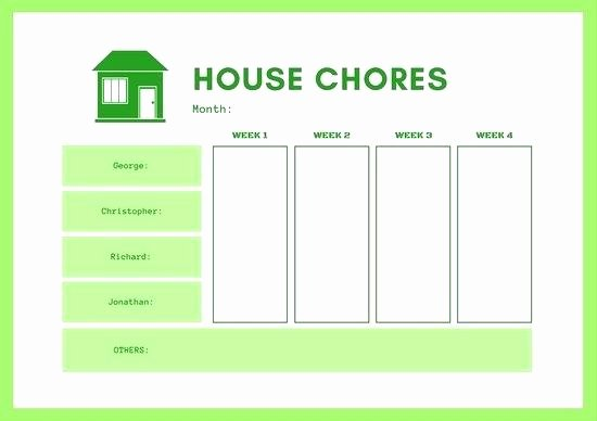 Monthly Chore Calendar Template Chart Word Fresh Roommate