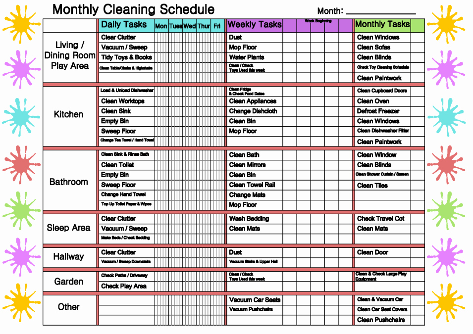 Monthly Cleaning Schedule Mindingkids