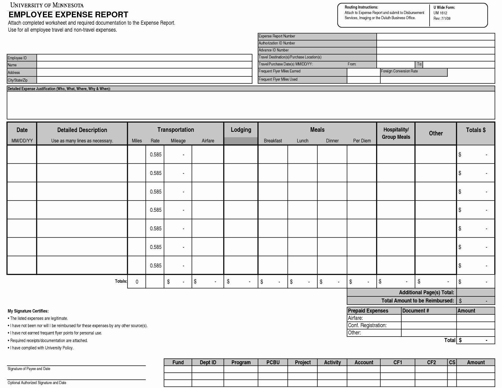 Monthly Expense Report Template Detailed Expense Report