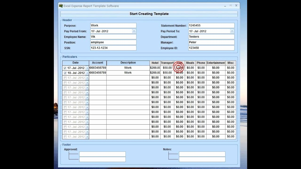 Monthly Expense Report Template for Excel 8 Expense
