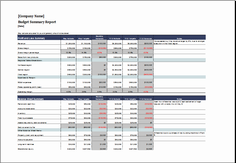 Monthly Financial Report Template Excel Spreadsheet