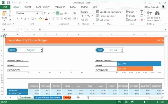 Monthly Home Bud Template for Microsoft Excel 2013