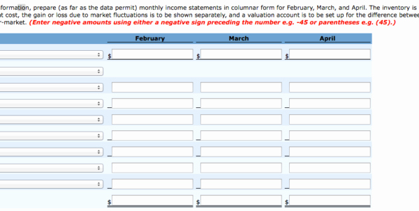 Monthly In E Statement In E Spreadsheet Monthly