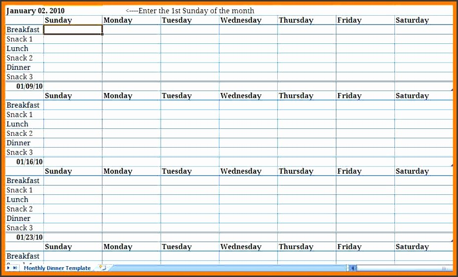 Monthly Meal Plan Excel Template Archives