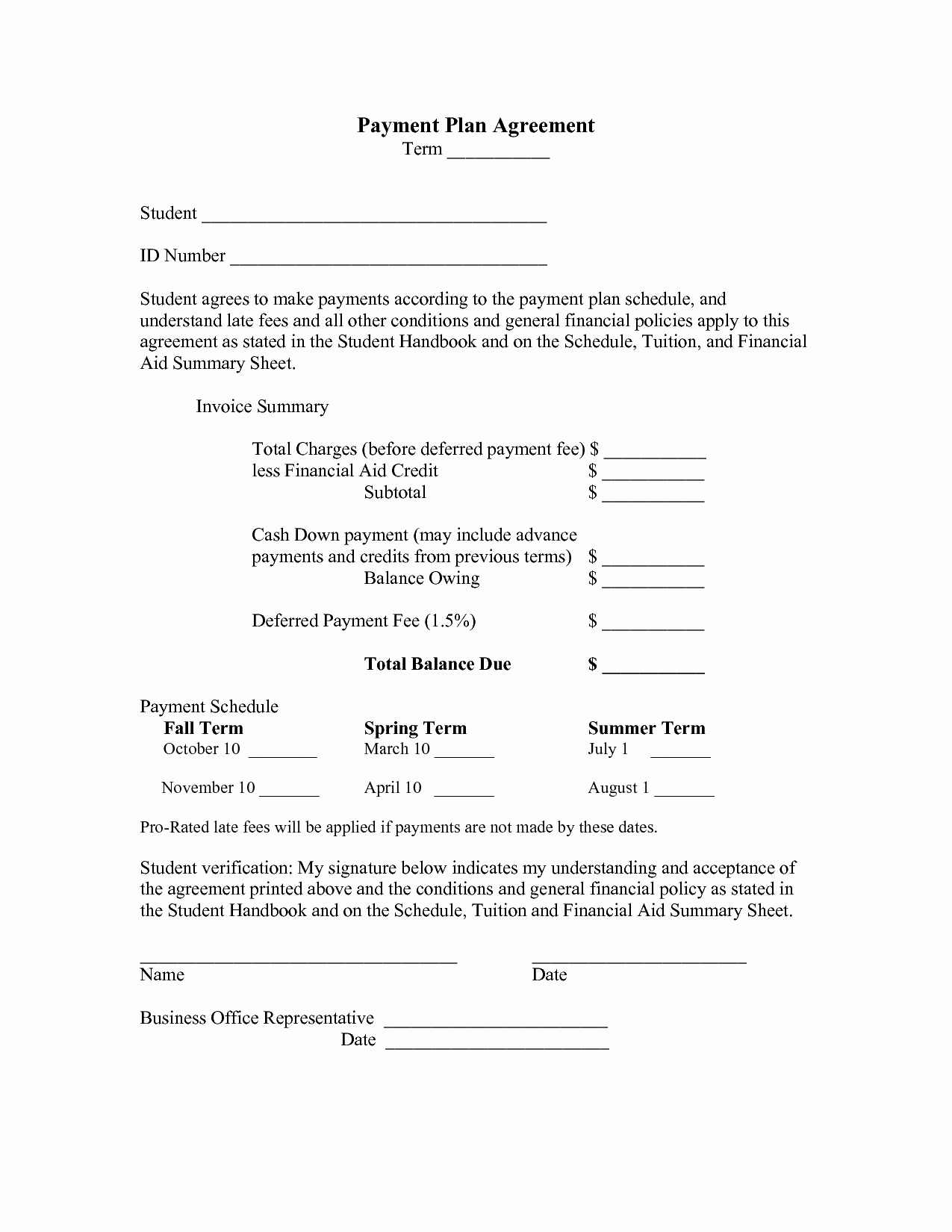 Monthly Payment Contract Template Portablegasgrillweber
