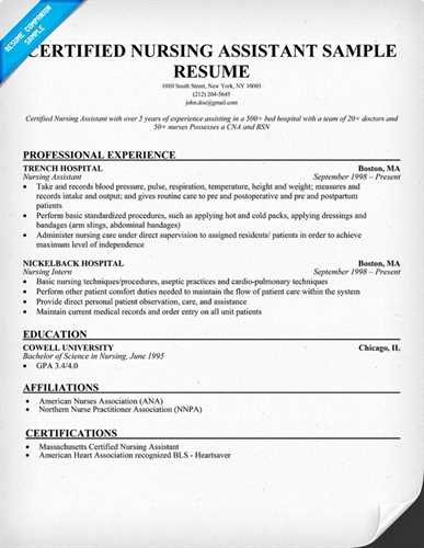 More Nursing assistant Resume Templates