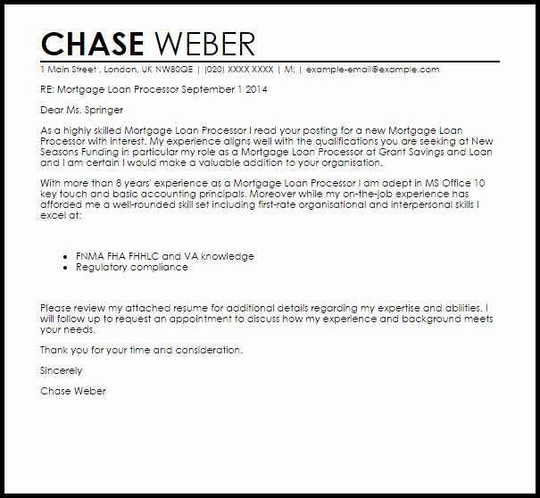Mortgage Loan Processor Cover Letter Sample