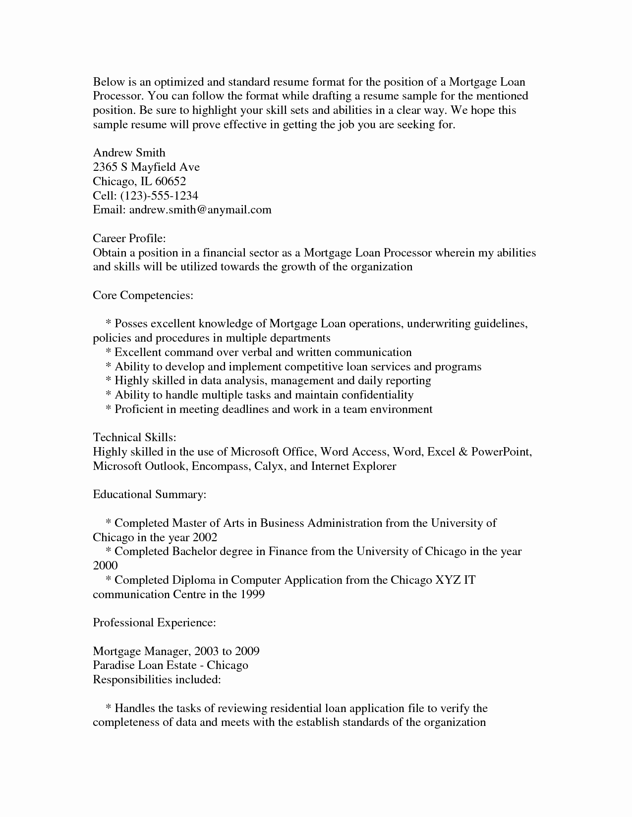 Loan Advisor Cover Letter Sarahepps Mortgage Processor Resume Sidemcicek