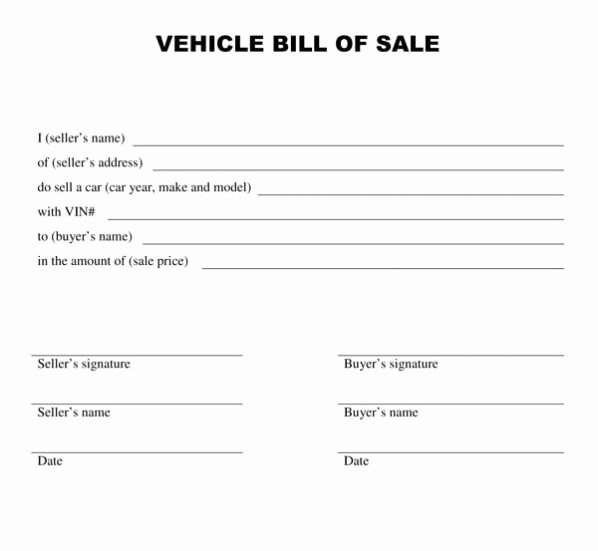 Motor Vehicle Bill Of Sale Template form Printable
