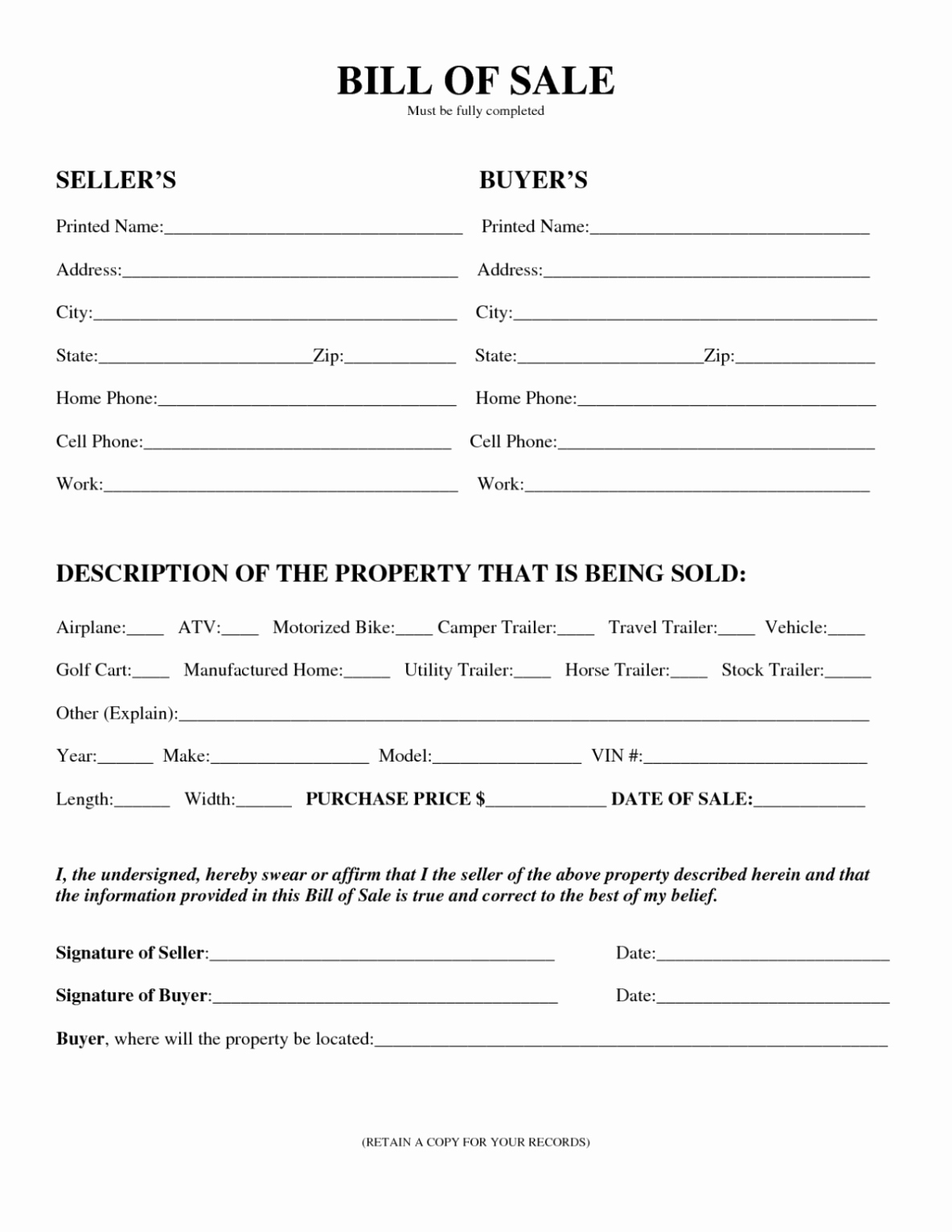 Motor Vehicle Bill Of Sale Template Printable