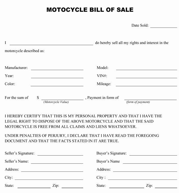 Motorcycle Bill Sale