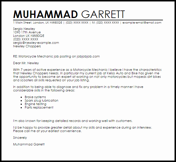 Motorcycle Mechanic Cover Letter Sample