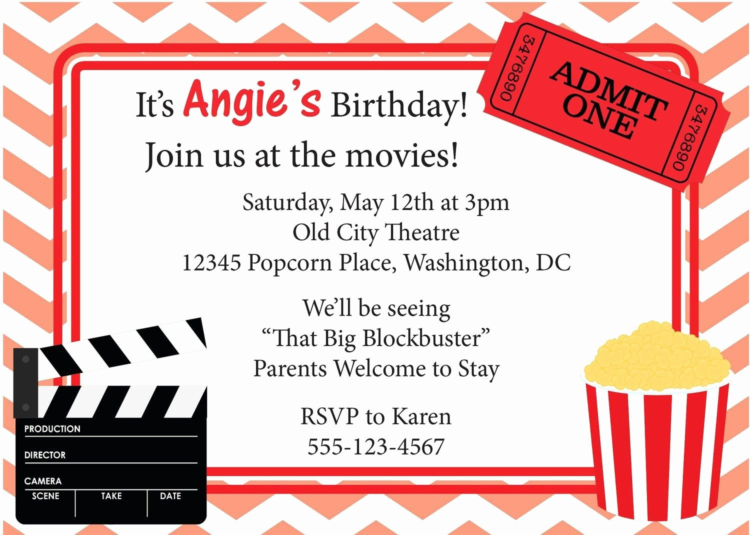 Movie Invitation Printable Google Search