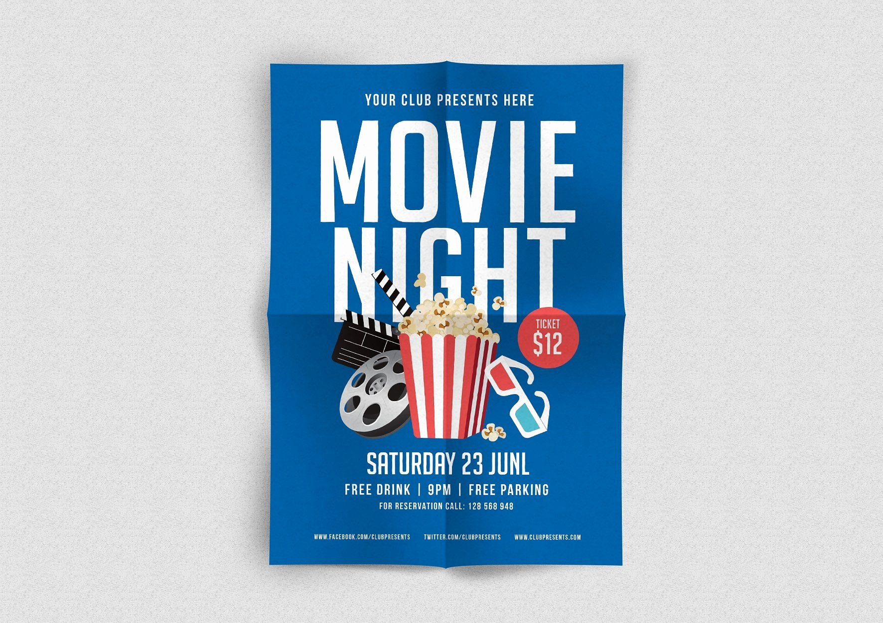 Movie Night Flyer Flyer Templates Creative Market