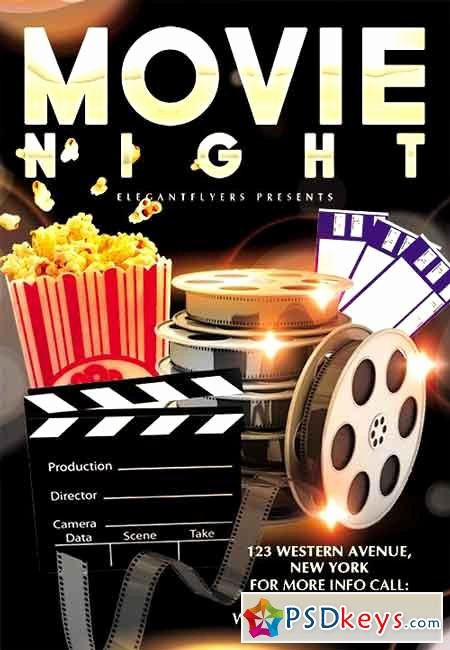 Movie Night Flyer Psd Template Cover 2 Free