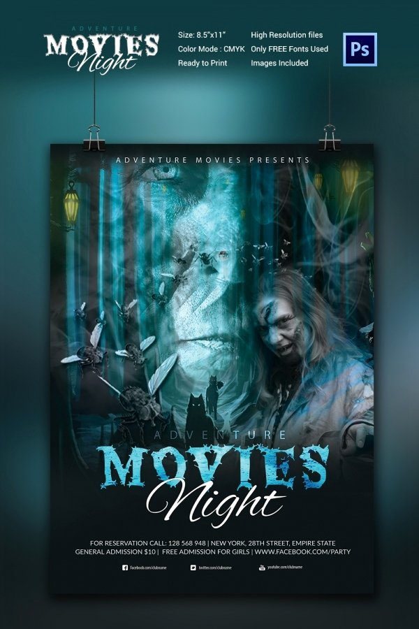 Movie Night Flyer Template 25 Free Jpg Psd format