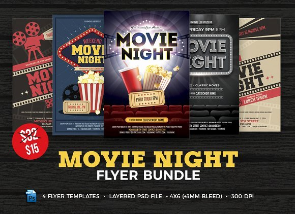 Movie Night Flyer Template Bundle Flyer Templates