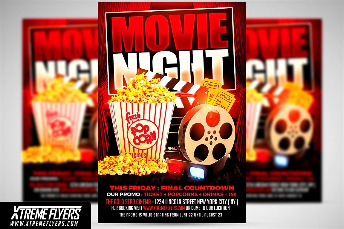 Movie Night Flyer Template Flyer Templates Creative Market