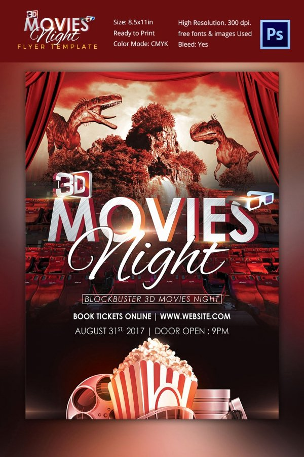 Movie Night Flyer Template Poster Free Ps and Movie Night
